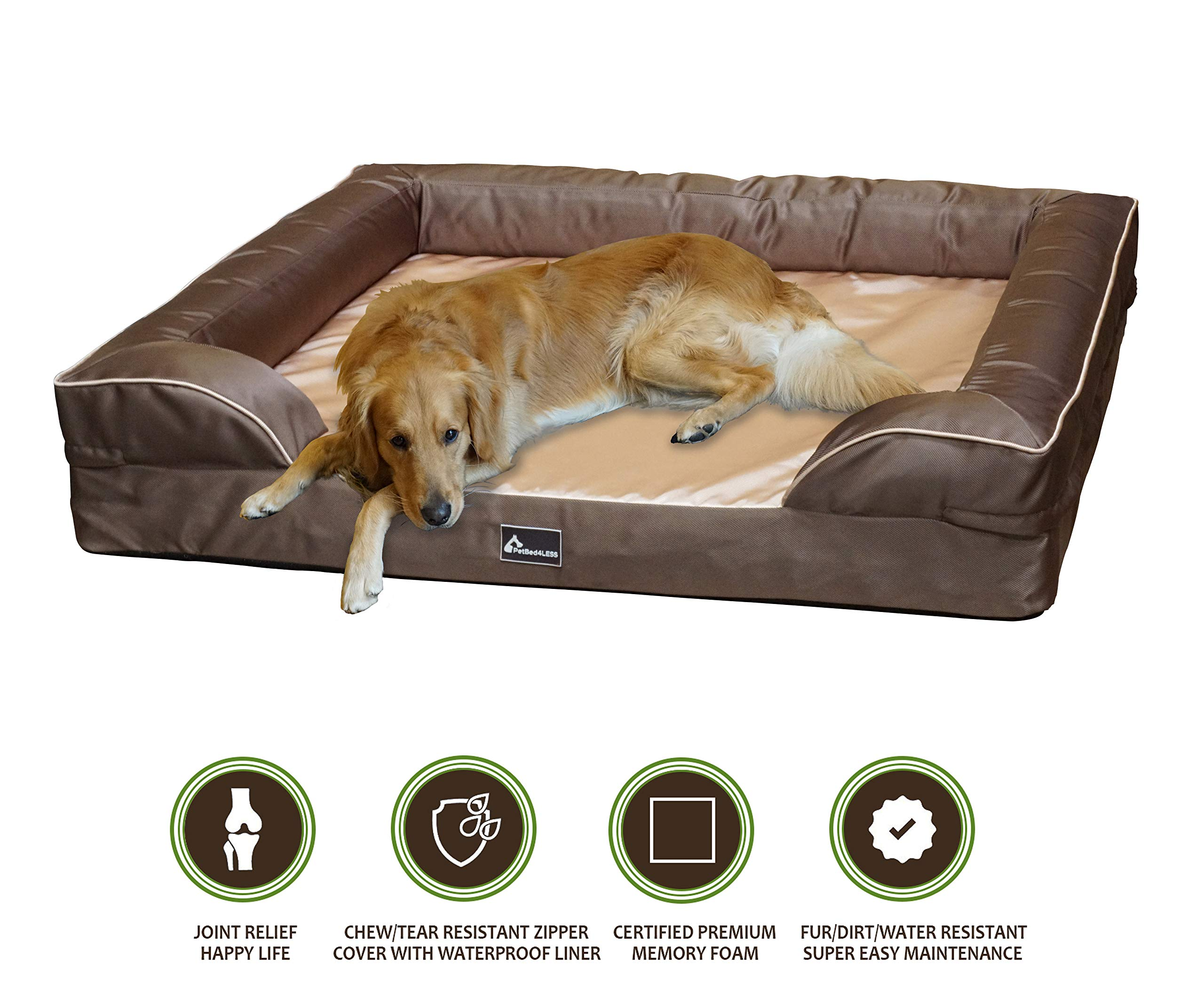 PetBed4Less Deluxe Dog Bed Sofa & Lounge w/Premium Orthopedic Memory Foam and Heavy Duty Removable Zipper Cover + Free Bonus Waterproof Liner [Replacement Zipper Covers Available]