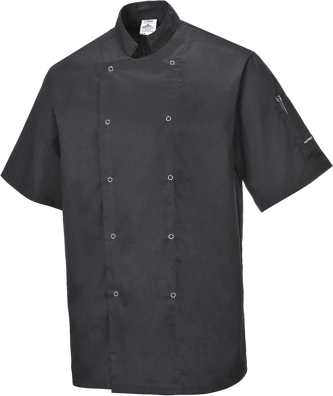 Portwest  C733  Cumbria Jacket Chefs Black Regular Large Men Various Size