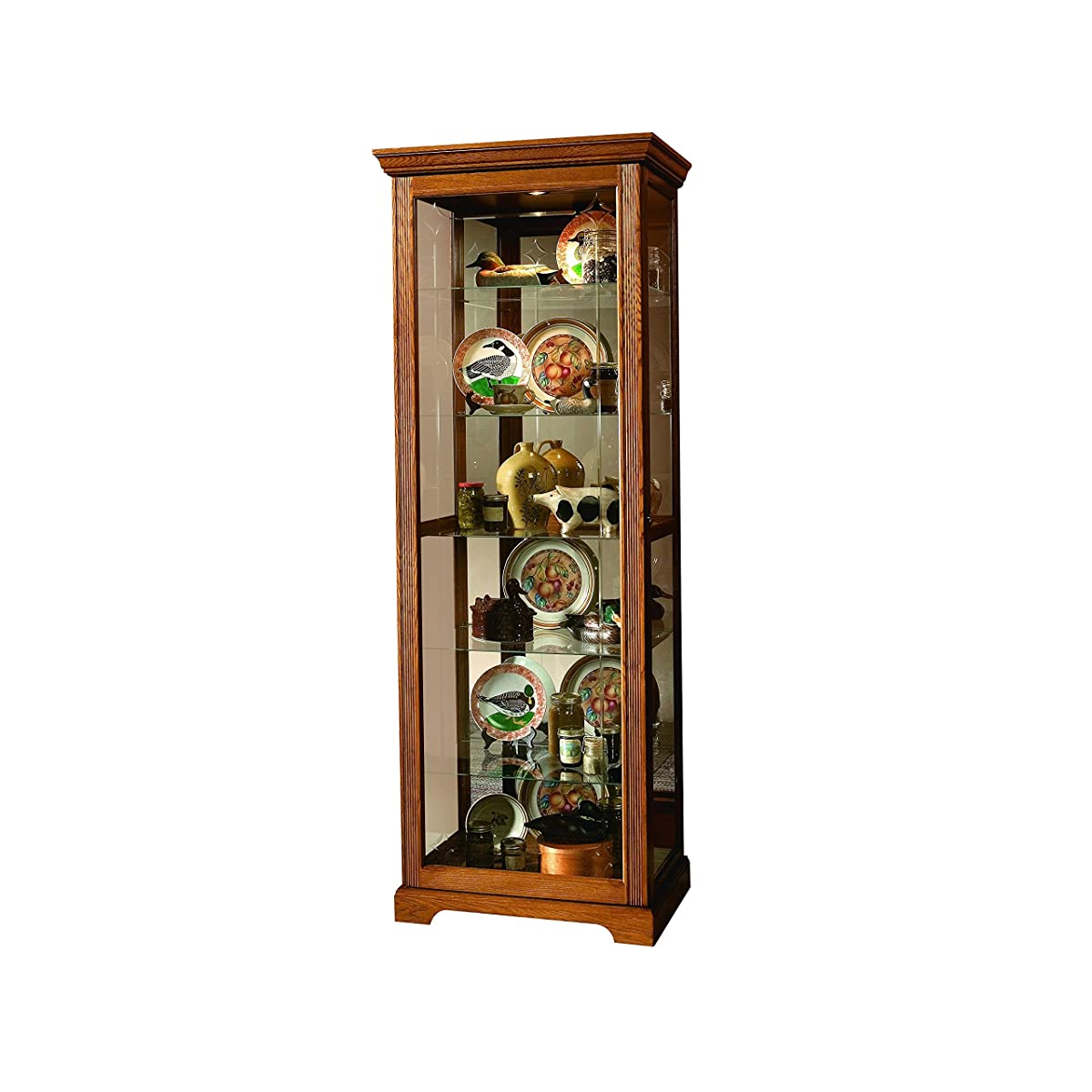 Sofaweb.com Golden Oak Finish Two-Way Sliding Door Curio Cabinet