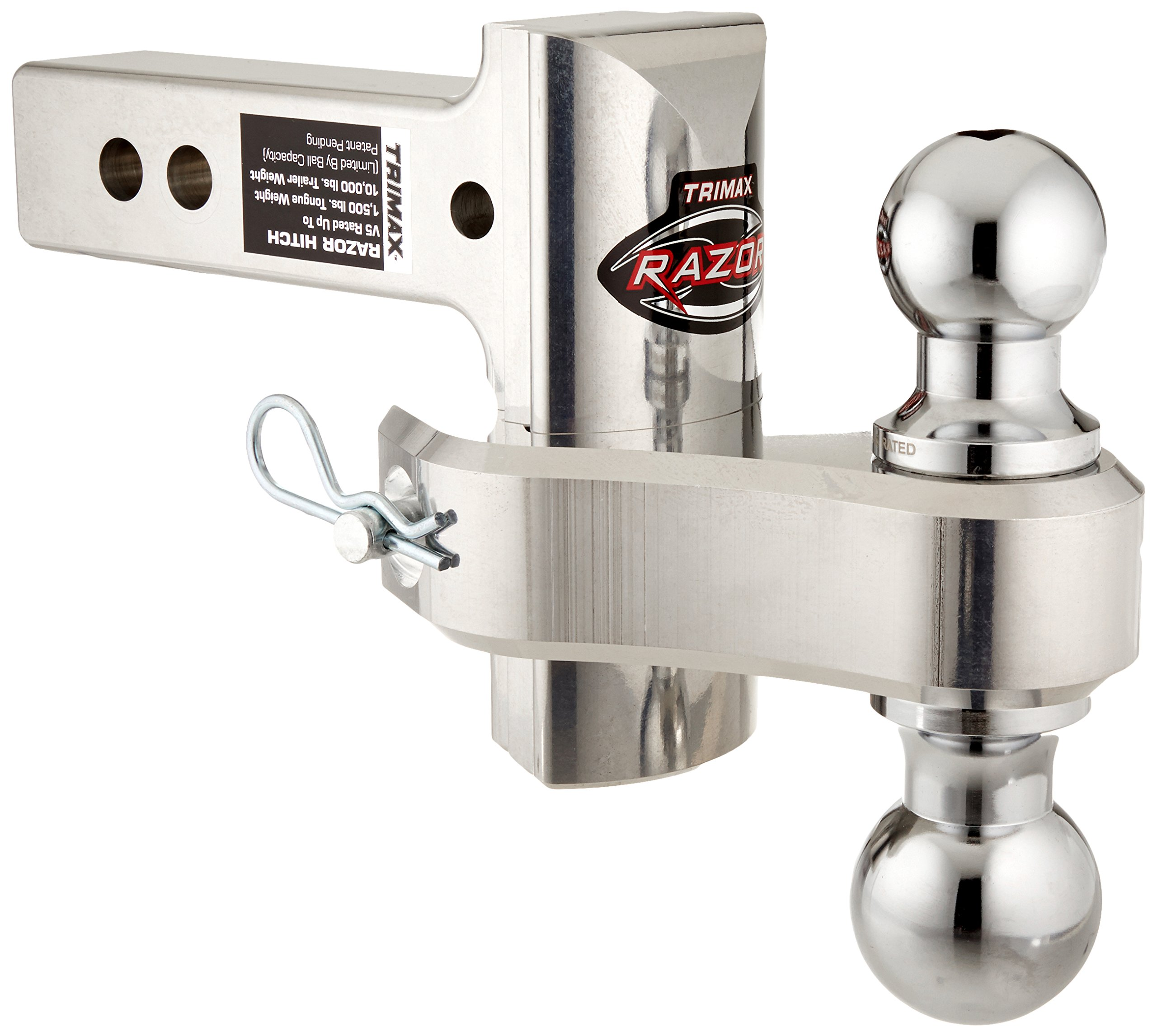 """Trimax TRZ4ALRP 4"""" Aluminum Adjustable Hitch with Dual Hitch Ball and Receiver Adjustment Pin, Silver"""
