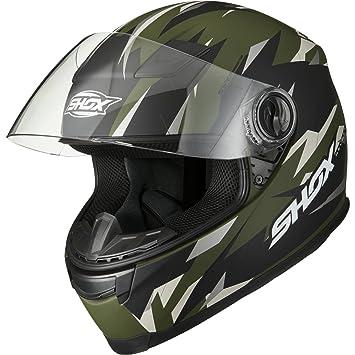 Shox Sniper Predator XS - Casco de moto, color verde mate