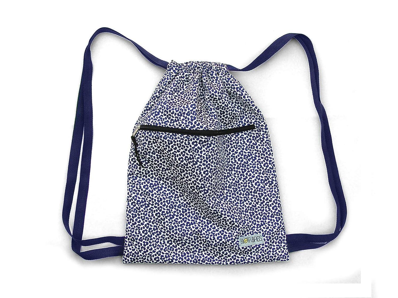 Mochila saco de tela estampada en azul y blanco, original estampado leopardo, print animal: Amazon.es: Handmade