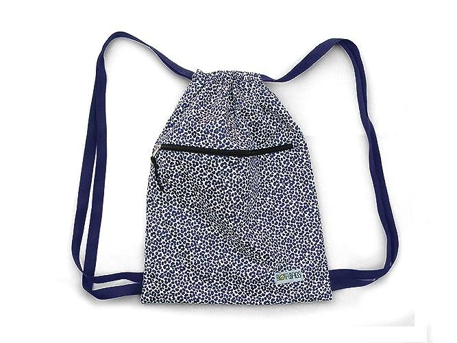 Mochila saco de tela estampada en azul y blanco, original estampado leopardo, print animal