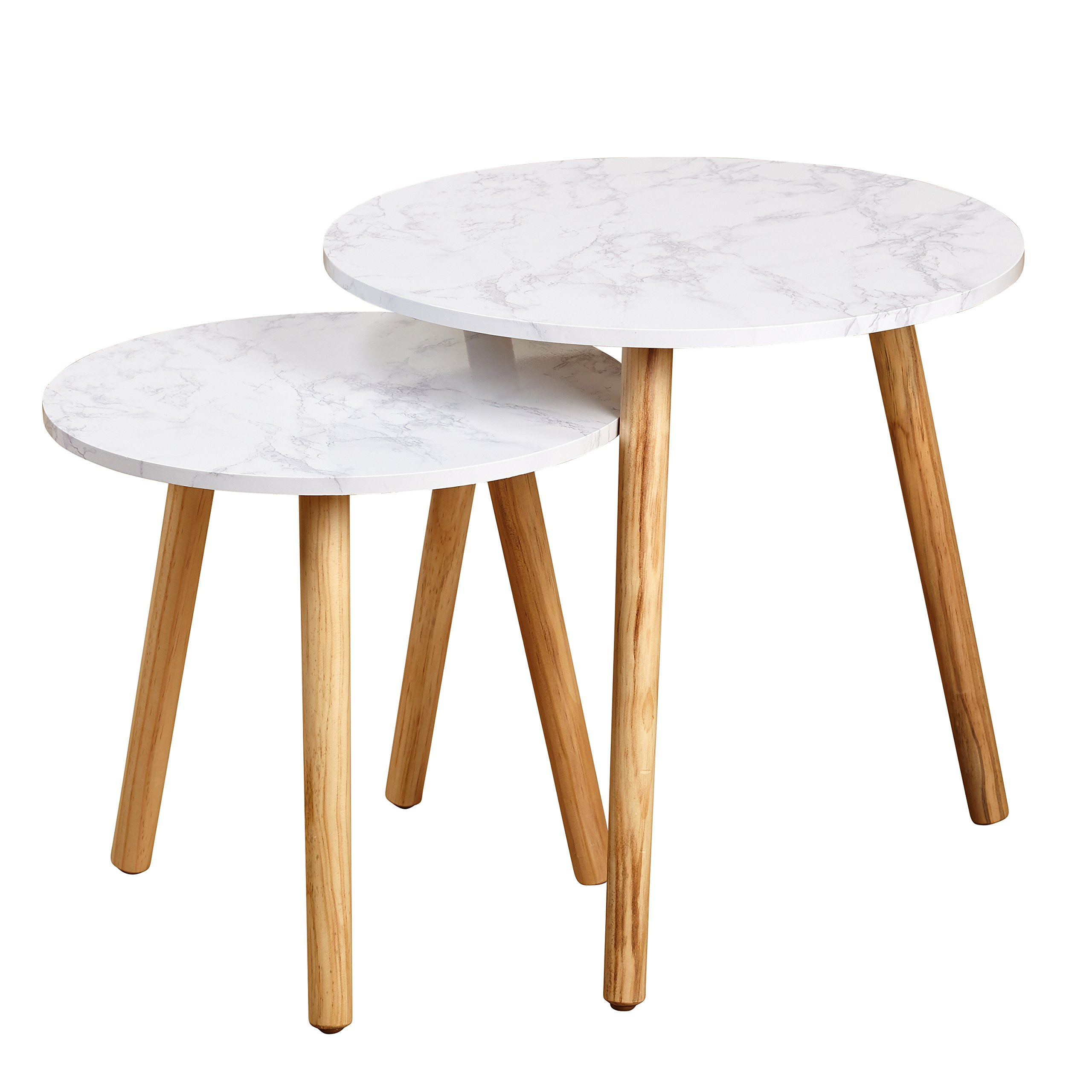 Target Marketing Systems Darcy Collection Mid Century Modern Set of 2 Laminated Faux Marble Nesting Tables by Target Marketing Systems