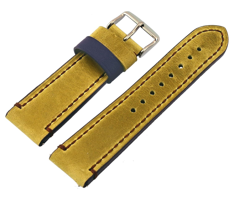 Rev純正Crazy Horseデュアルカラーレザー腕時計交換バンド – リーフグリーン/パープル18 mm、20 mm、22 mmまたは24 mm 20mm golden brown/dark green 20mm   B079CPYRY9