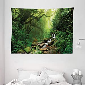 """Ambesonne Rainforest Tapestry, Forest in Nepal Footpath Wildlife Spring Plant and Stones Moisture Water Print, Wide Wall Hanging for Bedroom Living Room Dorm, 80"""" X 60"""", Green Brown"""