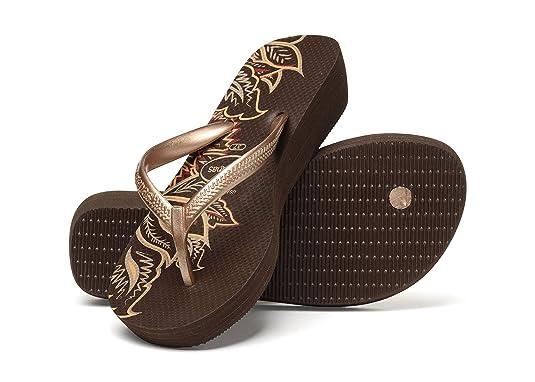 9e04cbe4b Havaianas High Light Brown Gold Wedge Flip Flops - UK 7  Amazon.co.uk   Shoes   Bags