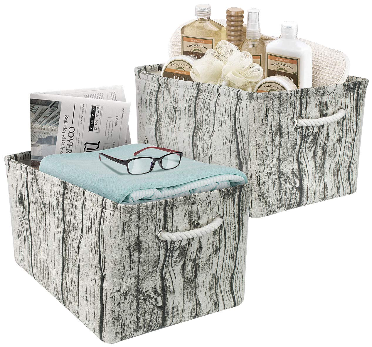Sorbus Tree Stump Basket Bin Storage Set, Rustic Rectangular Fabric Storage Bin Organizer Baskets with Portable Rope Handles for Nursery, Kids, Toys, Linens, Clothes, etc (Tree Bin - Large)