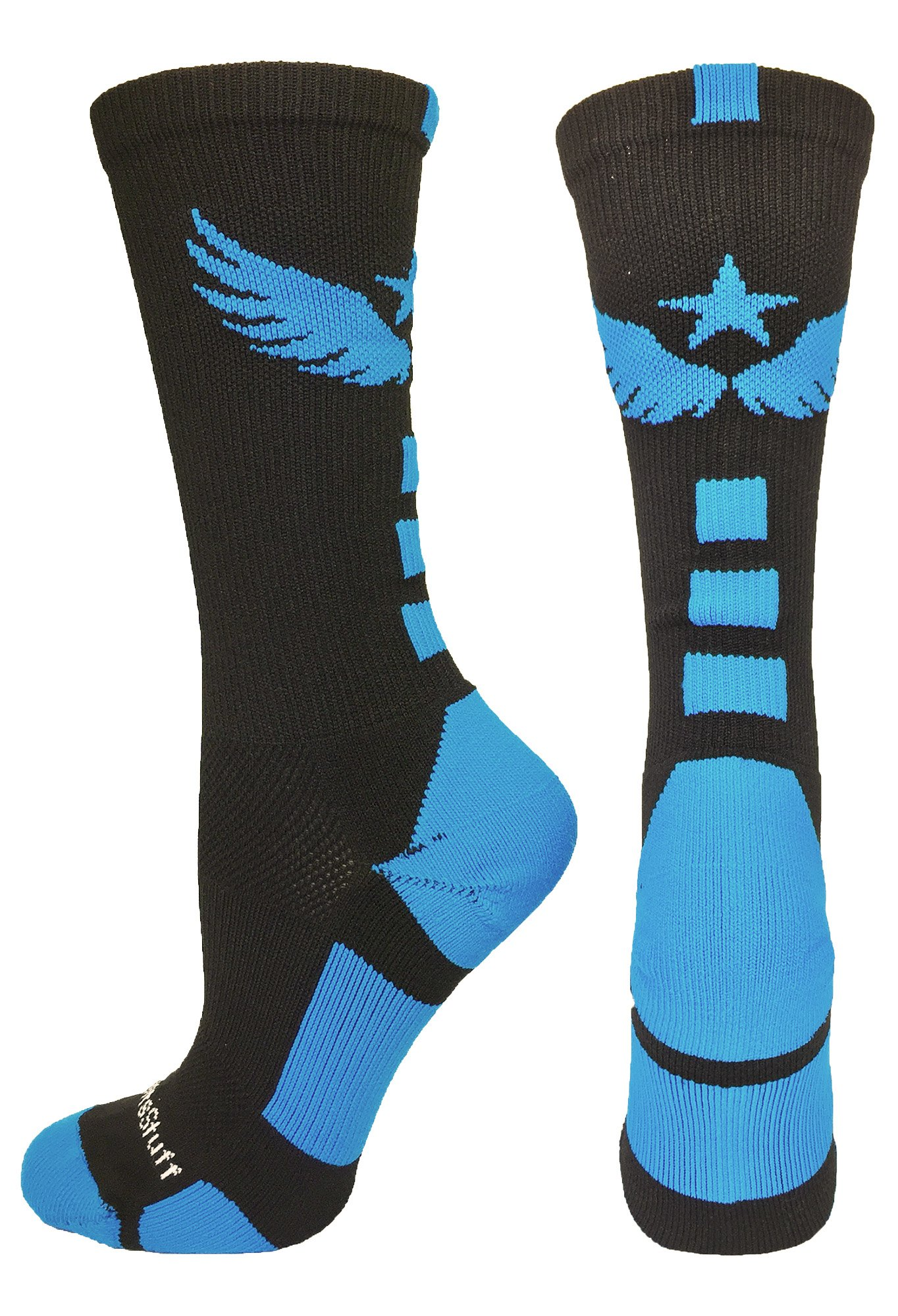 MadSportsStuff Light Speed Athletic Crew Socks (Black/Electric Blue, Small) by MadSportsStuff