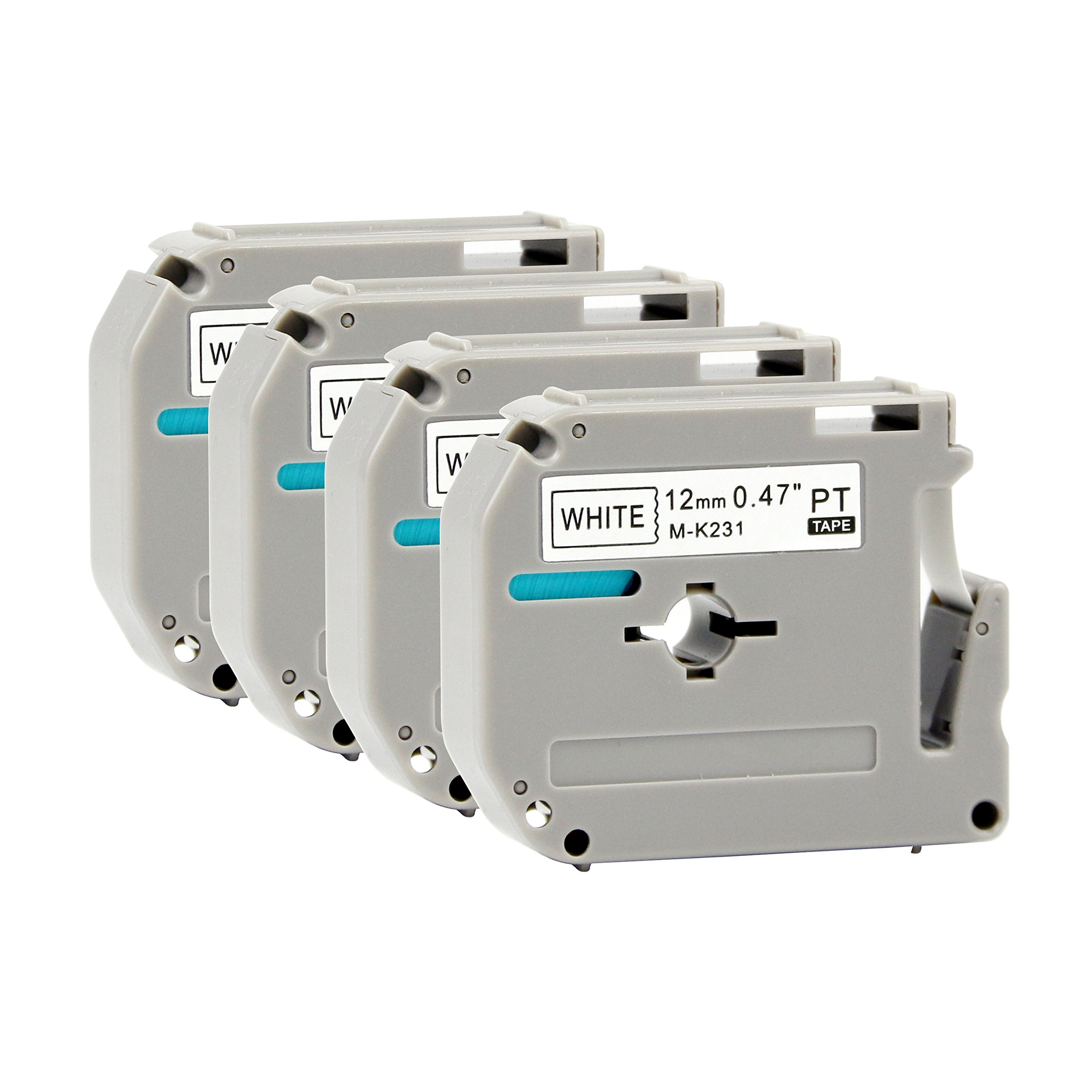 M231 MK231 M-K231 Label Tape Cartridge M Tape,Use on Brother P-Touch PT-90 PT-M95 PTM95M PT-70SR PT-80 PT-70BM PT-70 PT-55BM Label Maker, Black on White, 0.47 in x 26.2 ft/(12mm) X (8m),4-Pack
