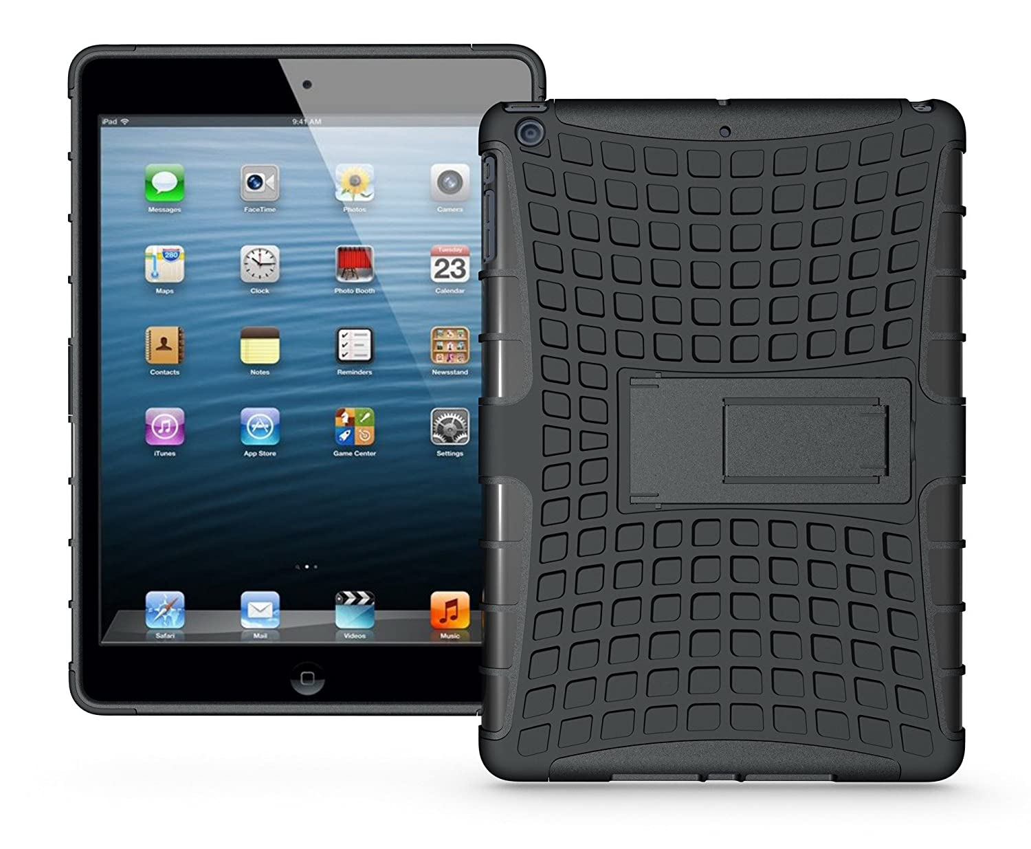 Amazon.com: iPad Air Dura Tough Case - Rugged Protection With Kickstand (Red): Cell Phones & Accessories