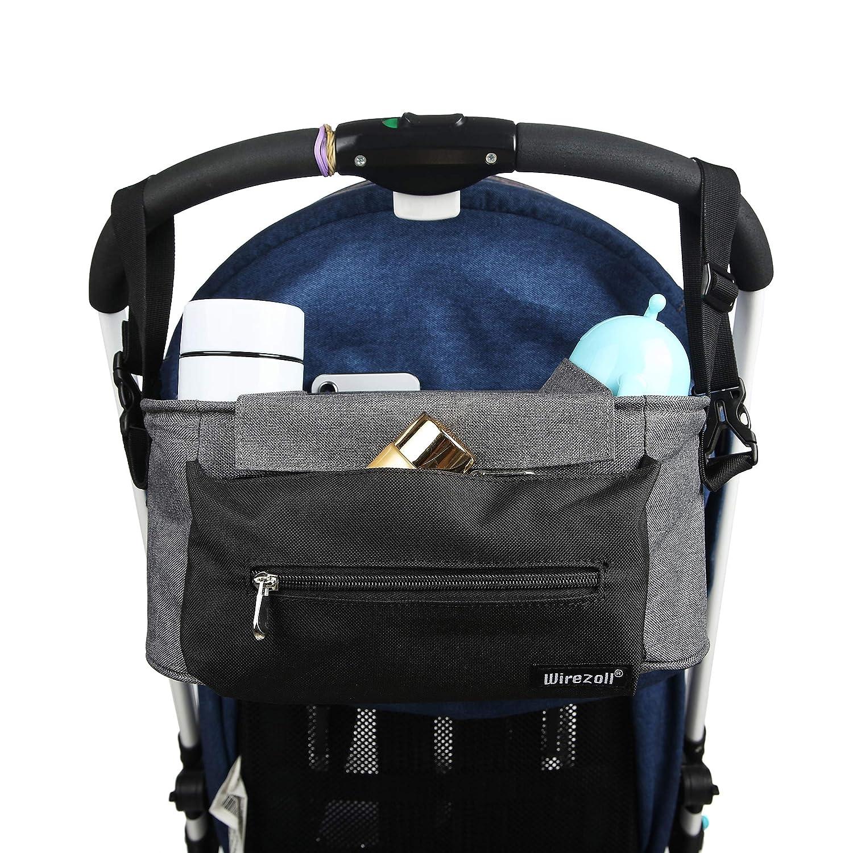 Bolso para Cochecito de bebe compartimientos multifuncionales Organizador para coches de paseo Azul Azul