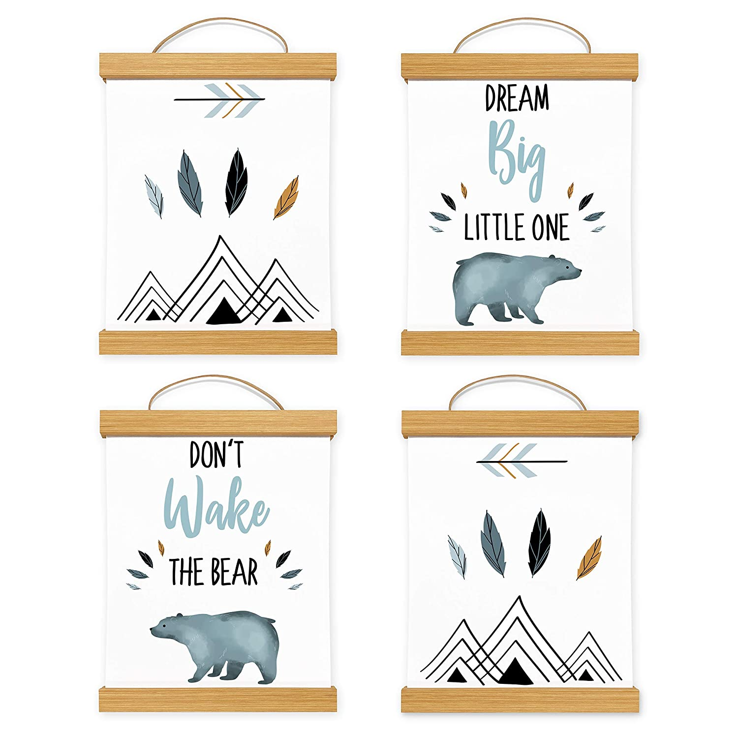 Framed Sweet Jojo Designs Slate Blue White Wall Art Prints Room Decor Baby Nursery Kids Bear Mountain Watercolor Collection - Set of 4 - Dream Big Don't Wake The Bear Wooden Hanging Magnetic Frames