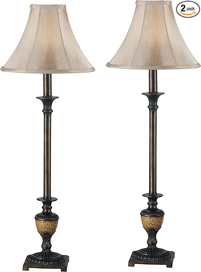 Kenroy Home Classic Buffet Lamp 2 Pack 30 Inch Height 11 Inch Diameter With Crackle Bronze Finish Table Lamps Amazon Com