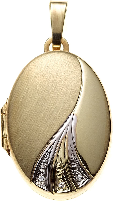 JOBO Damen-Medaillon aus 333 Gold Bicolor mit Zirkonia Oval zum /Öffnen f/ür 2 Fotos