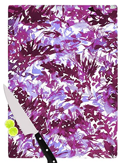 KESS InHouse JD1316ACB01 Ebi EmporiumIn The Meadow 3 Multi Plum Purple White Lavender Cutting Board 11.5 x 8.25