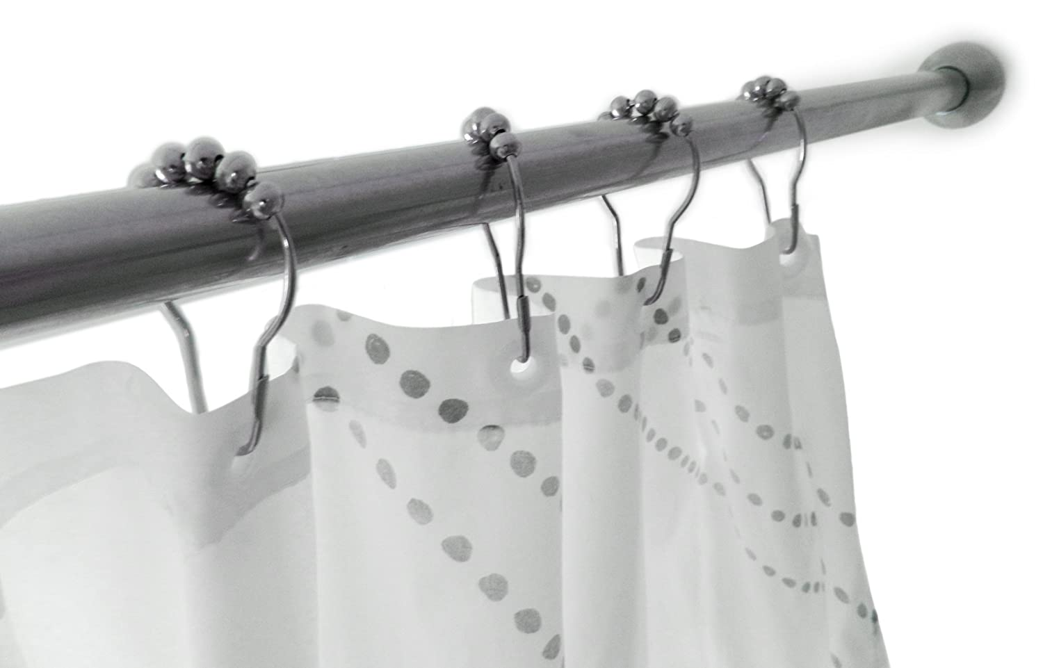 Amazon.com: Premium Shower Curtain Hooks, 100% Stainless Steel ...