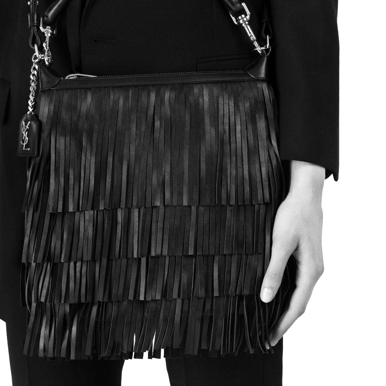 aca678ce313 Saint Laurent  Emmanuelle  Small Leather Fringe Hobo Bag, Black 410565   Amazon.ca  Shoes   Handbags