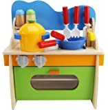 Lewo Children Wooden Play Kitchen Set Pretend Role Play Cook Learning Toys for Kids