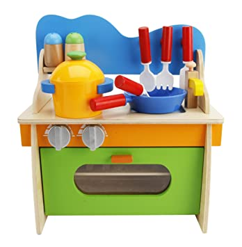 Amazon.com: Lewo Children Wooden Play Kitchen Set Pretend Role ...