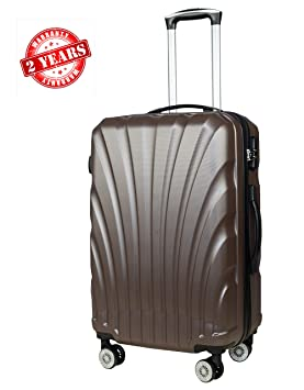 3G Unisex Combat 8023 Series ABS 55 cm/20 Inch Cabin Size 4 Wheels Hard Sided Luggage Trolley Suitcase (Black)