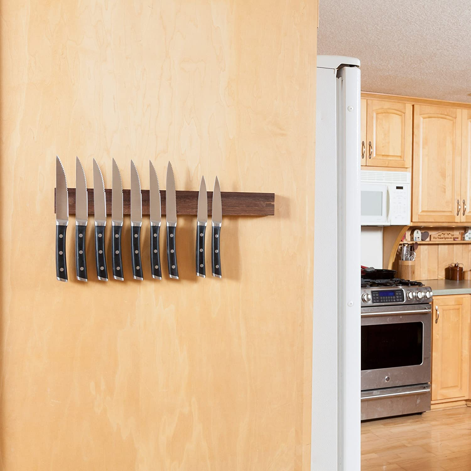 Amazon.com: Powerful Magnetic Knife Strip, Solid Wall Mount Wooden ...