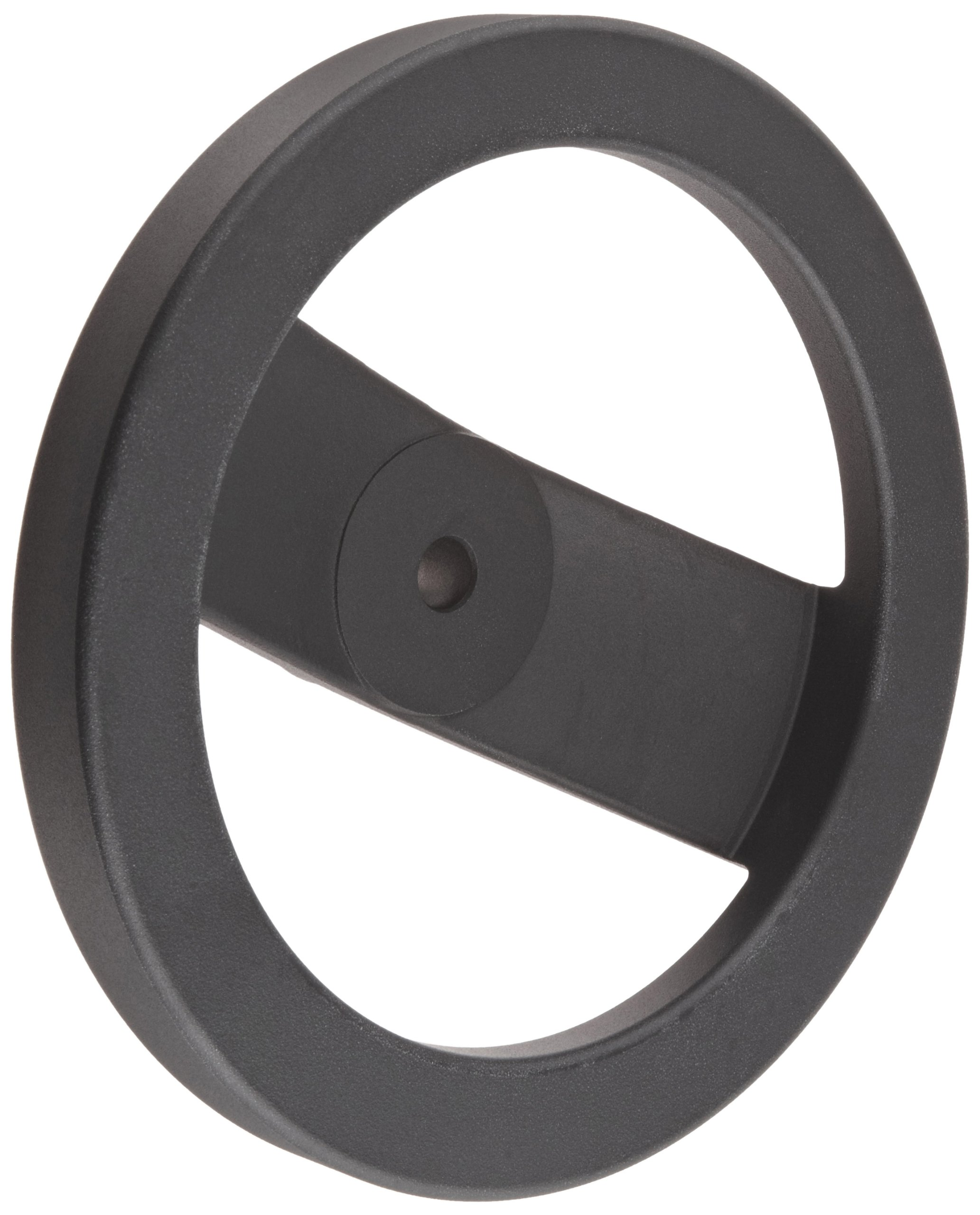 2 Spoked Black Powder Coated Aluminum Dished Hand Wheel without Handle, 8'' Diameter, 1/2'' Hole Diameter (Pack of 1)
