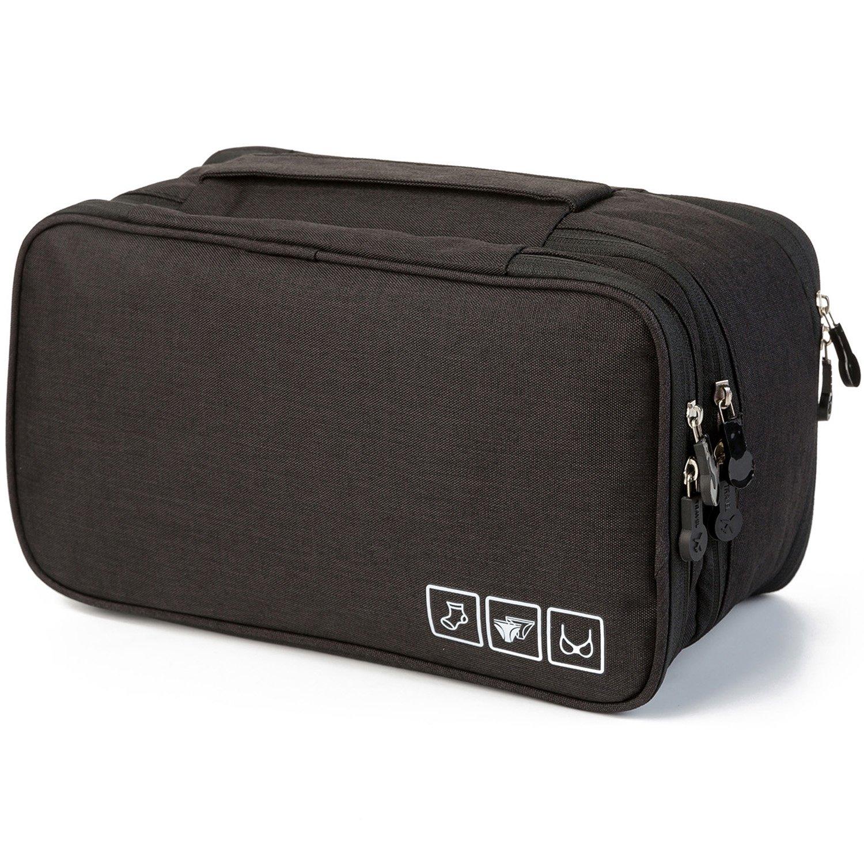 MODARANI Portable Bra Underwear Organizer Travel Toiletry Bag Makeup Organizer Case Black by MODARANI (Image #1)