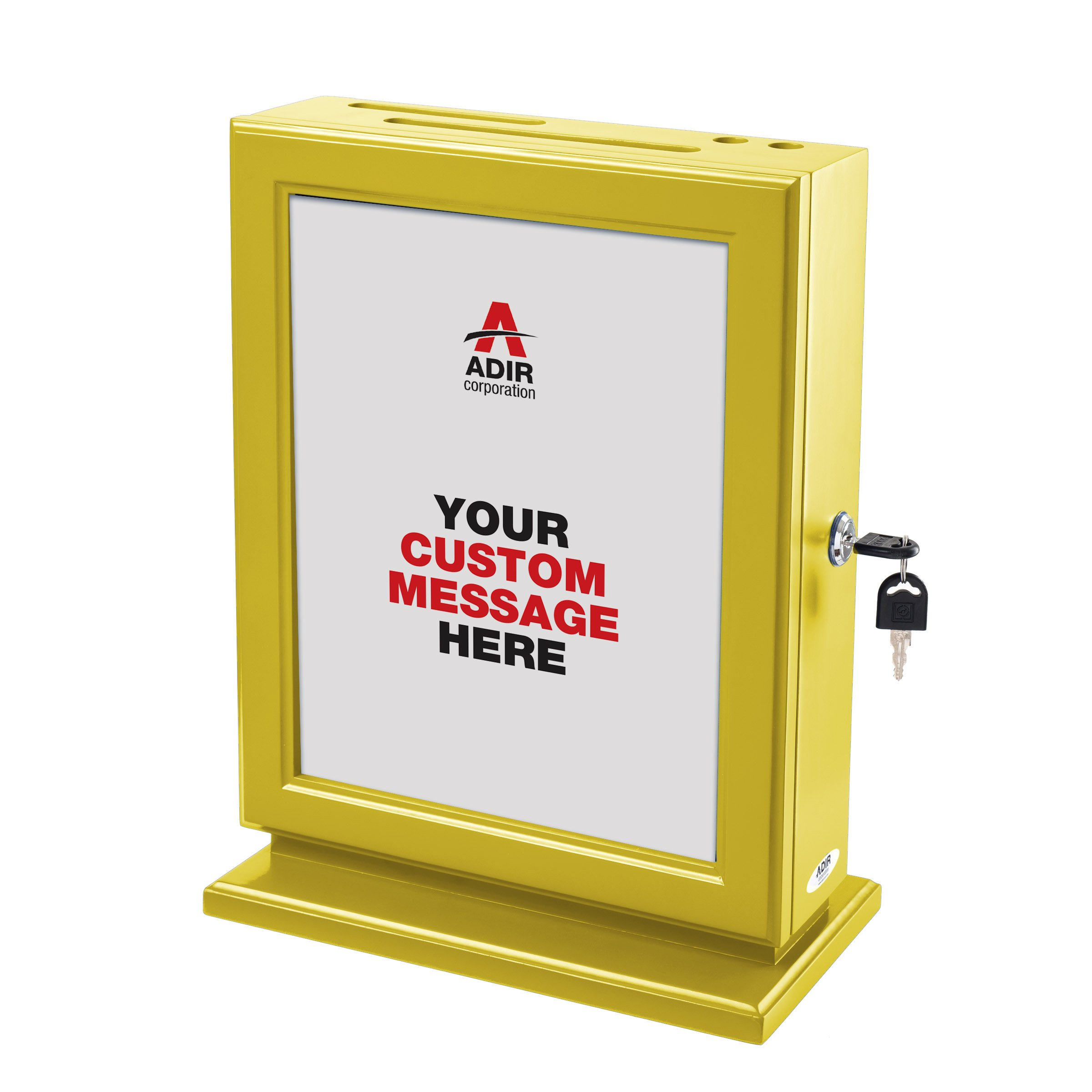 Adir Customizable Wood Suggestion Box - Yellow - with 25 Suggestion Cards