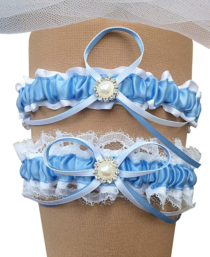 a7f5e0f37017fb Amazon.com  MerryJuly Blue Lace Satin Bridal Garter Set of 2 with Pearls  Wedding Garters Toss Away (Blue)  Clothing
