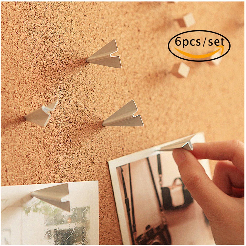 Paper Airplane Push Pin, Fantastic_008 Thumbtacks Push Pins Metal for Home Office Cork Board / Bulletin Board Creative Novelty Office Gadget Home Decorative, 6pcs/set