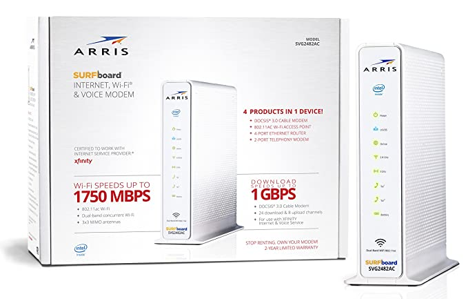 ARRIS Surfboard (24x8) Docsis 3 0 Cable Modem Plus AC1750 Dual Band Wi-Fi  Router and Xfinity Telephone, Certified for Comcast Xfinity Only (SVG2482AC)