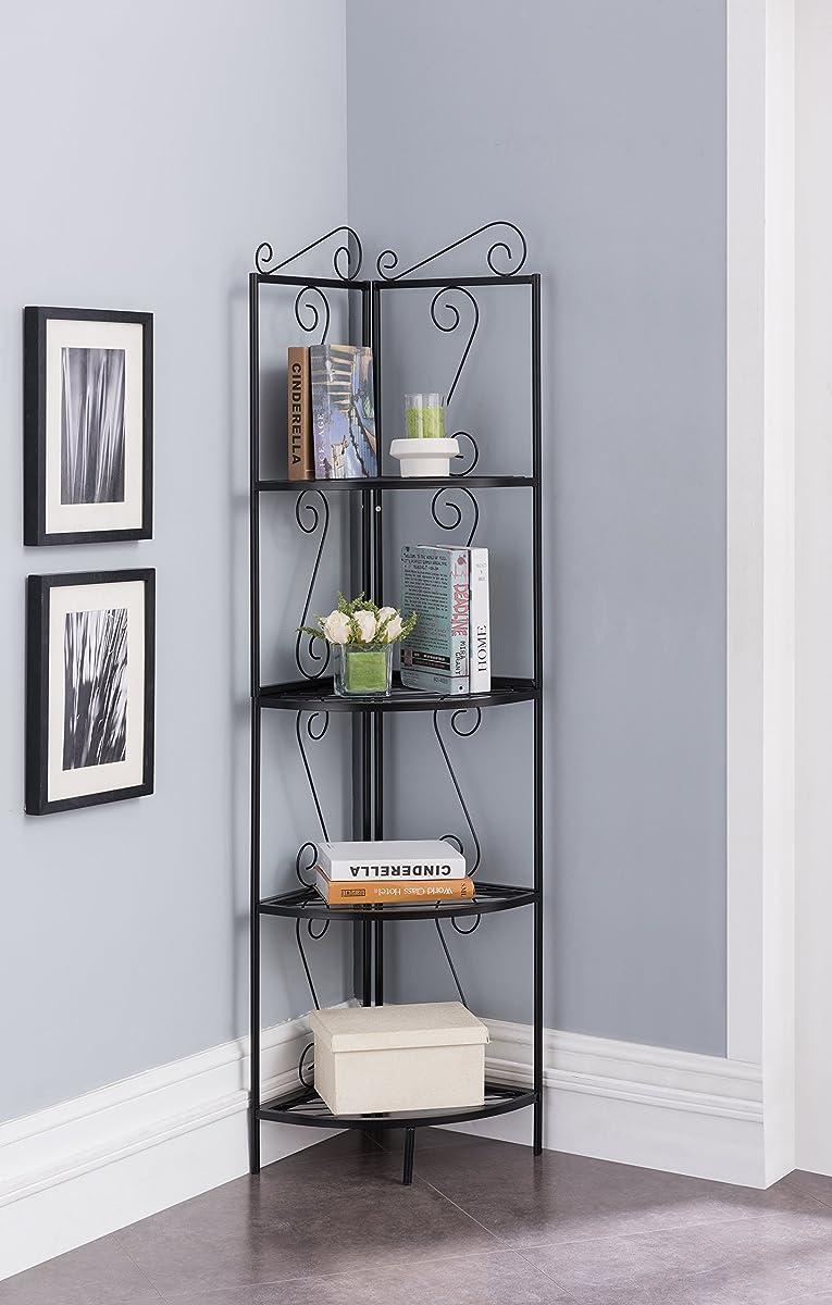 4-Tier Metal Scroll Design Corner Shelf Bookcase Display - Black