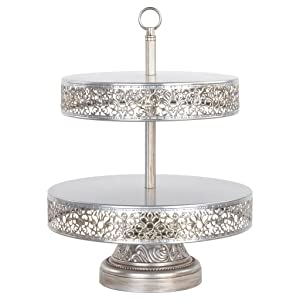 Victoria Collection Antique Silver 2 Tier Cupcake Stand, Round Metal Dessert Wedding Party Display Tower with Reversible Plates