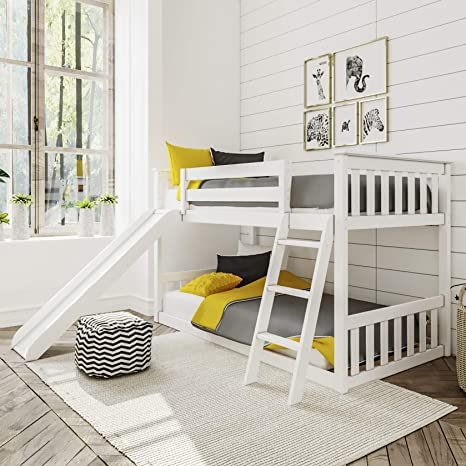 Amazon Com Max Lily Solid Wood Twin Low Bunk Bed With Slide White Furniture Decor