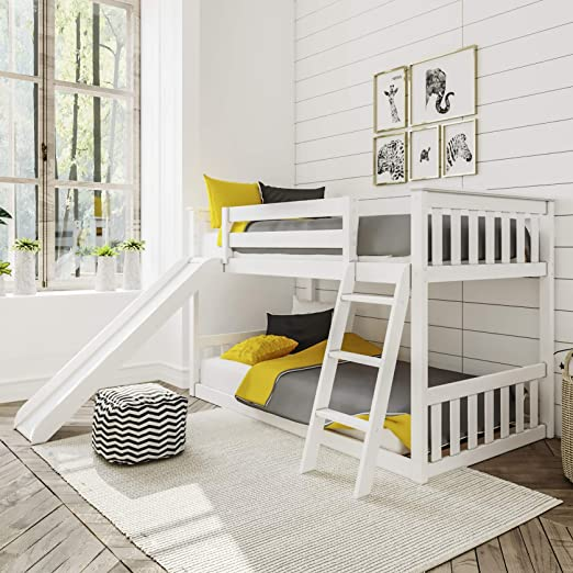 Amazon Com Max Lily Solid Wood Twin Low Bunk Bed With Slide