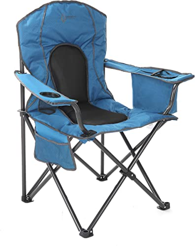 ARROWHEAD OUTDOOR Portable Folding Camping Quad Chair w 4-Can Cooler, Cup-Holder, Heavy-Duty Carrying Bag, Padded Armrests, Supports up to 330lbs, USA-Based Support
