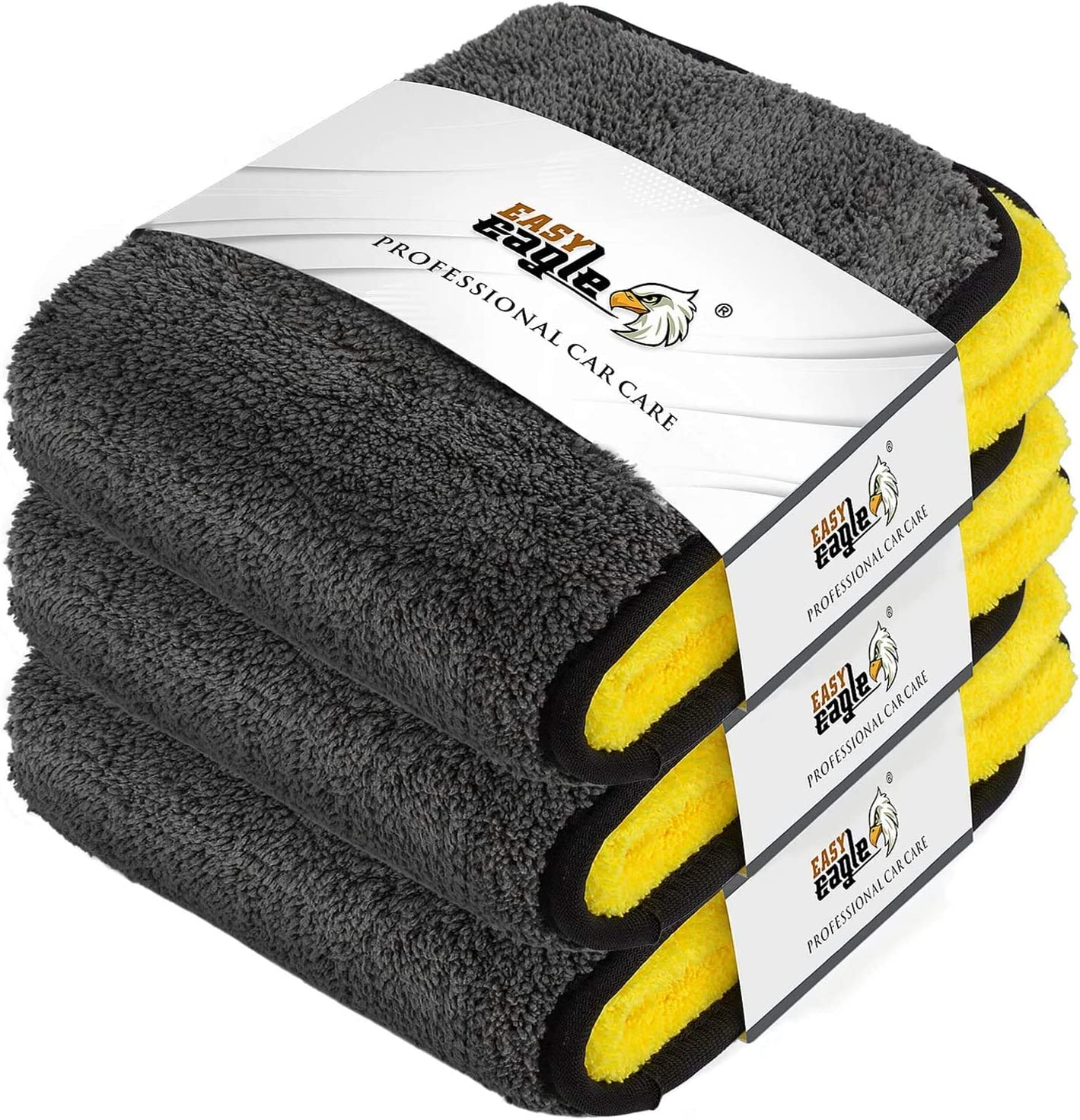 Car Wash Towels EASY EAGLE Microfiber Car Drying Towel 38x45CM Pack of 3 1200GSM Ultra-Thick Microfibre Cleaning Cloths