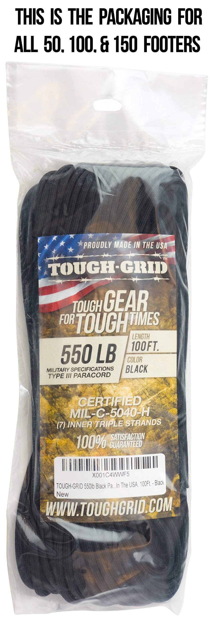 TOUGH-GRID 550lb Black Paracord/Parachute Cord - 100% Nylon Genuine Mil-Spec Type III Paracord Used by The US Military - Great for Bracelets and Lanyards - Made in The USA. 50Ft. - Black by TOUGH-GRID (Image #4)