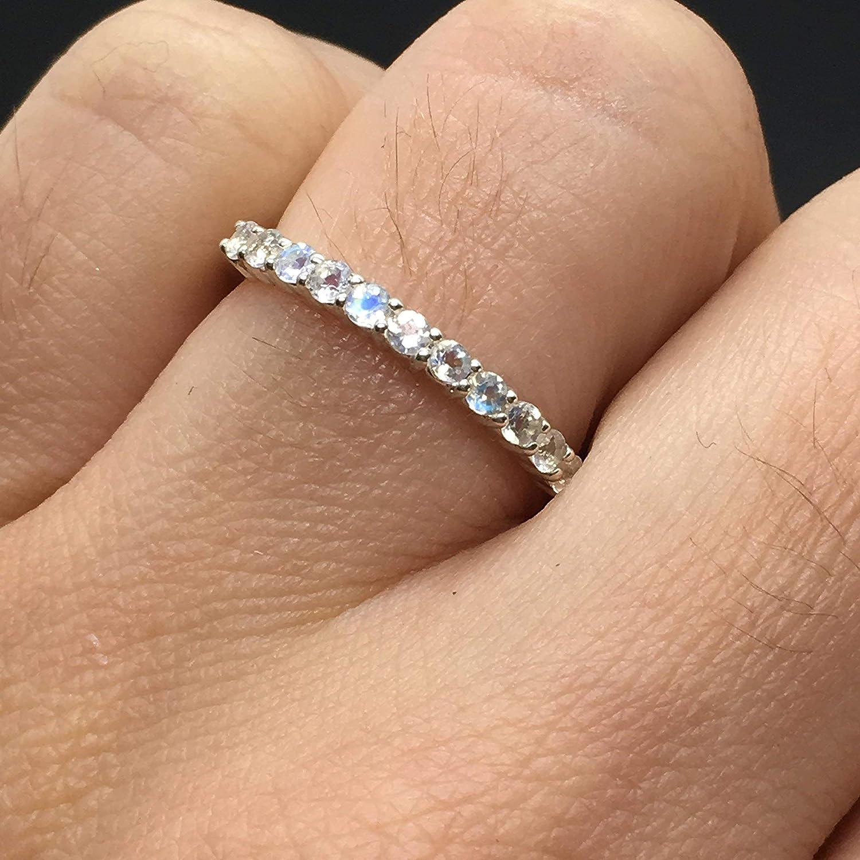 Amazon Com 14k White Gold Rainbow Moonstone Wedding Band 11