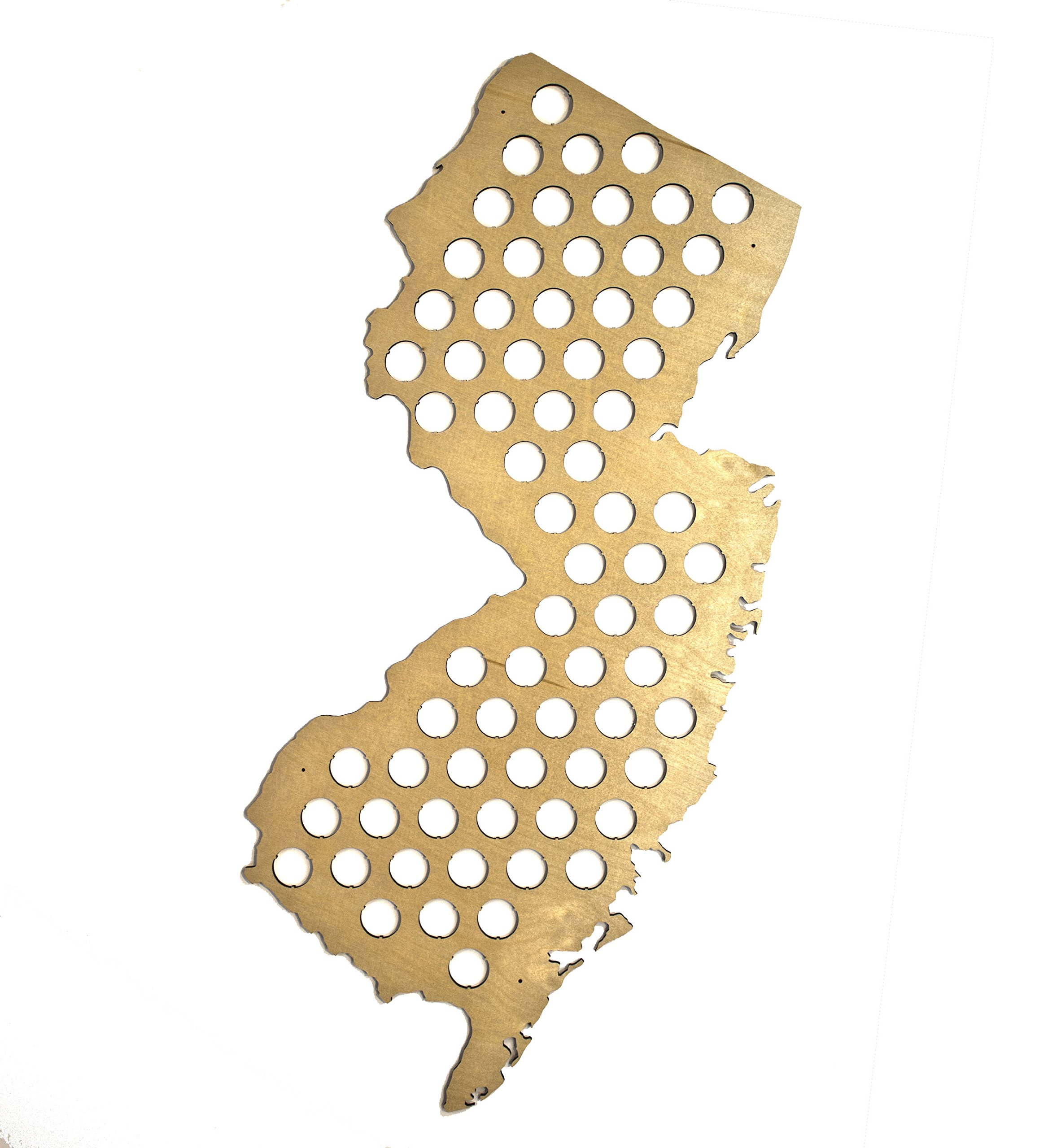 All 50 States Beer Cap Map - New Jersey Beer Cap Map - Glossy Wood - Skyline Workshop