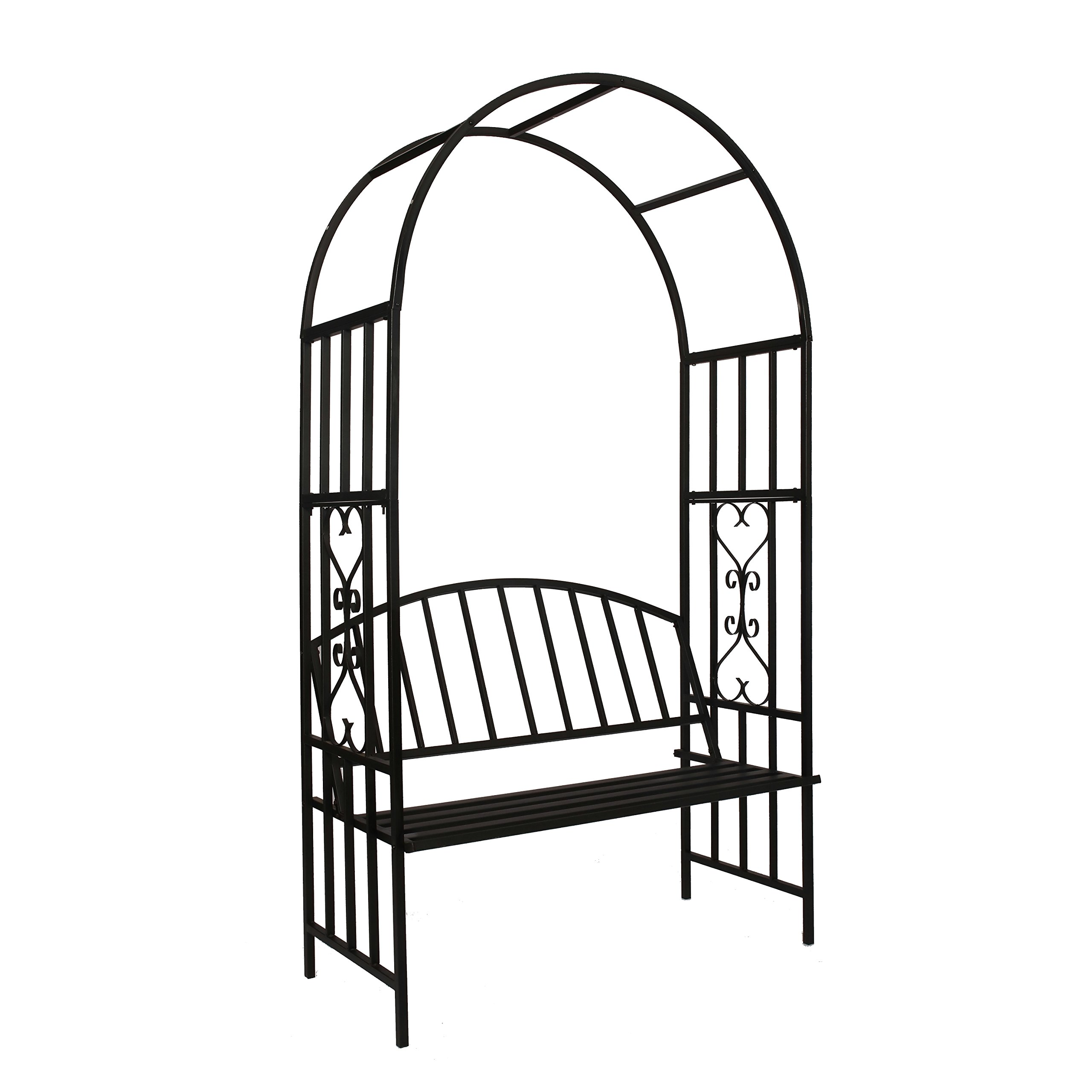 Better Garden Steel Garden Arch with Seat for 2 People, 6'7'' High x 3'7'' Wide, Garden Arbor for Various Climbing Plant, Outdoor Garden Lawn Backyard