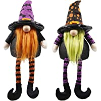 ATDAWN Halloween Table Decorations, Handmade Swedish Scandinavian Tomte, Halloween Plush Gnome Gifts, Handmade Tomte Plush Elf Doll, Kids Gift Home Ornaments Holiday Tabletop Decorations, Set of 2
