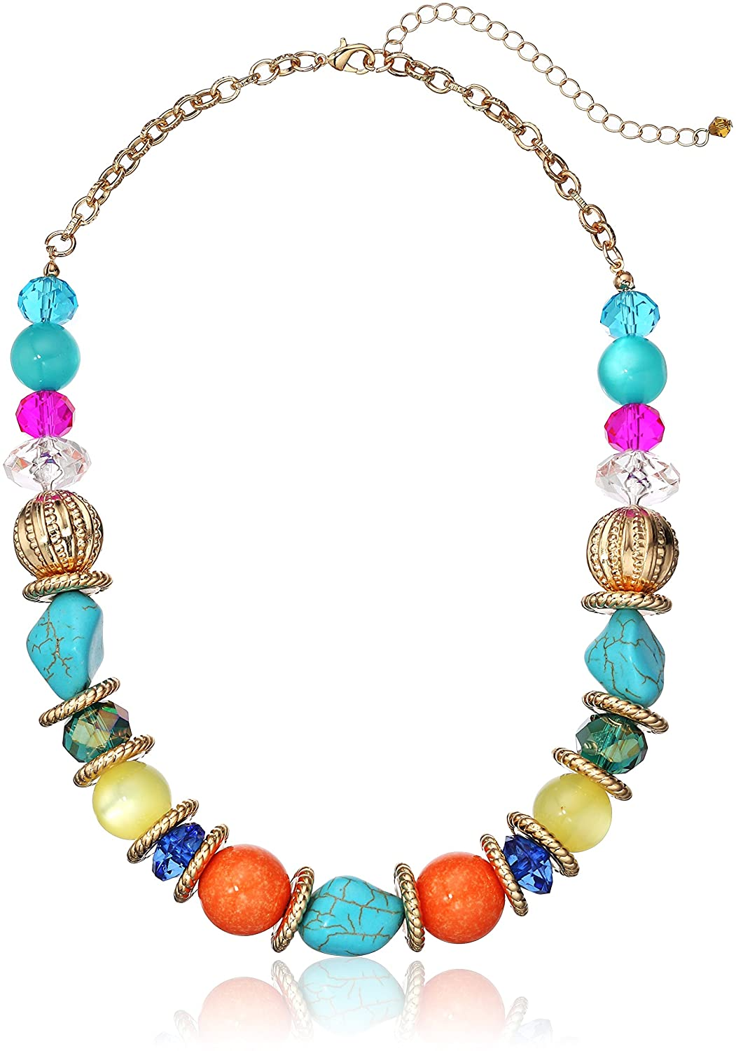 Fashion Mulit-Colored Beaded Strand Necklace, 17 + 3 17 + 3 Amazon Collection 102401
