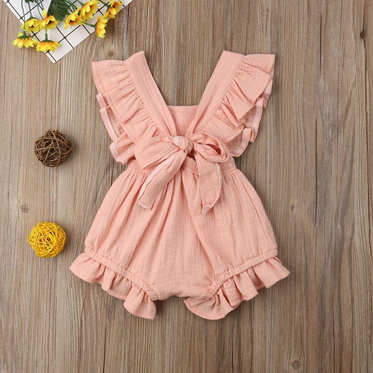 Miyanuby Abiti Bambino Ragazza Vestiti della neonata Senza Maniche Colletto Arruffato Bowknot Cotone Pagliaccetto Bodysuit Tuta Outfits