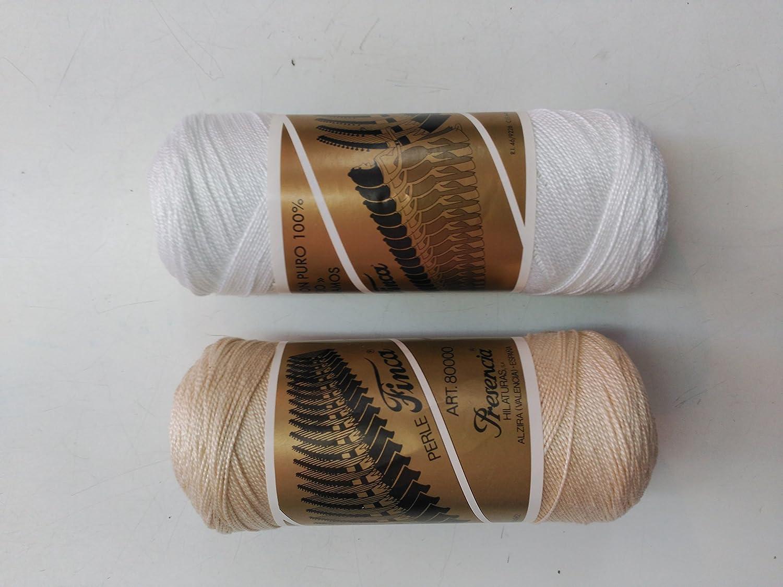 Hilo Finca algodón puro 100% mercerizado blanco 12 etiqueta dorada ...