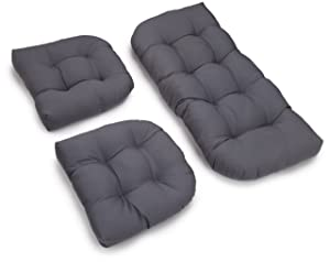 Blazing Needles Twill Settee Group Cushions, Steel Grey, Set of 3