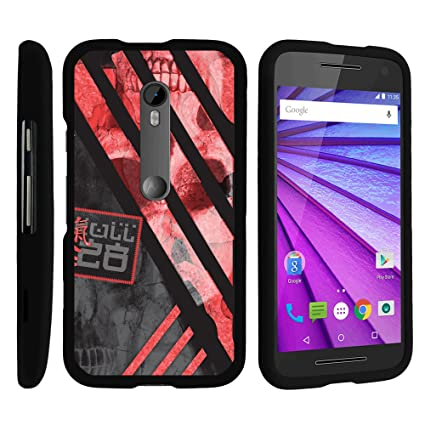 MINITURTLE Case Compatiblew/ Moto G 3rd Generation , 2 Piece Hard Snap On  Case + Black Motorola G 3rd Gen Red Japanese Strips