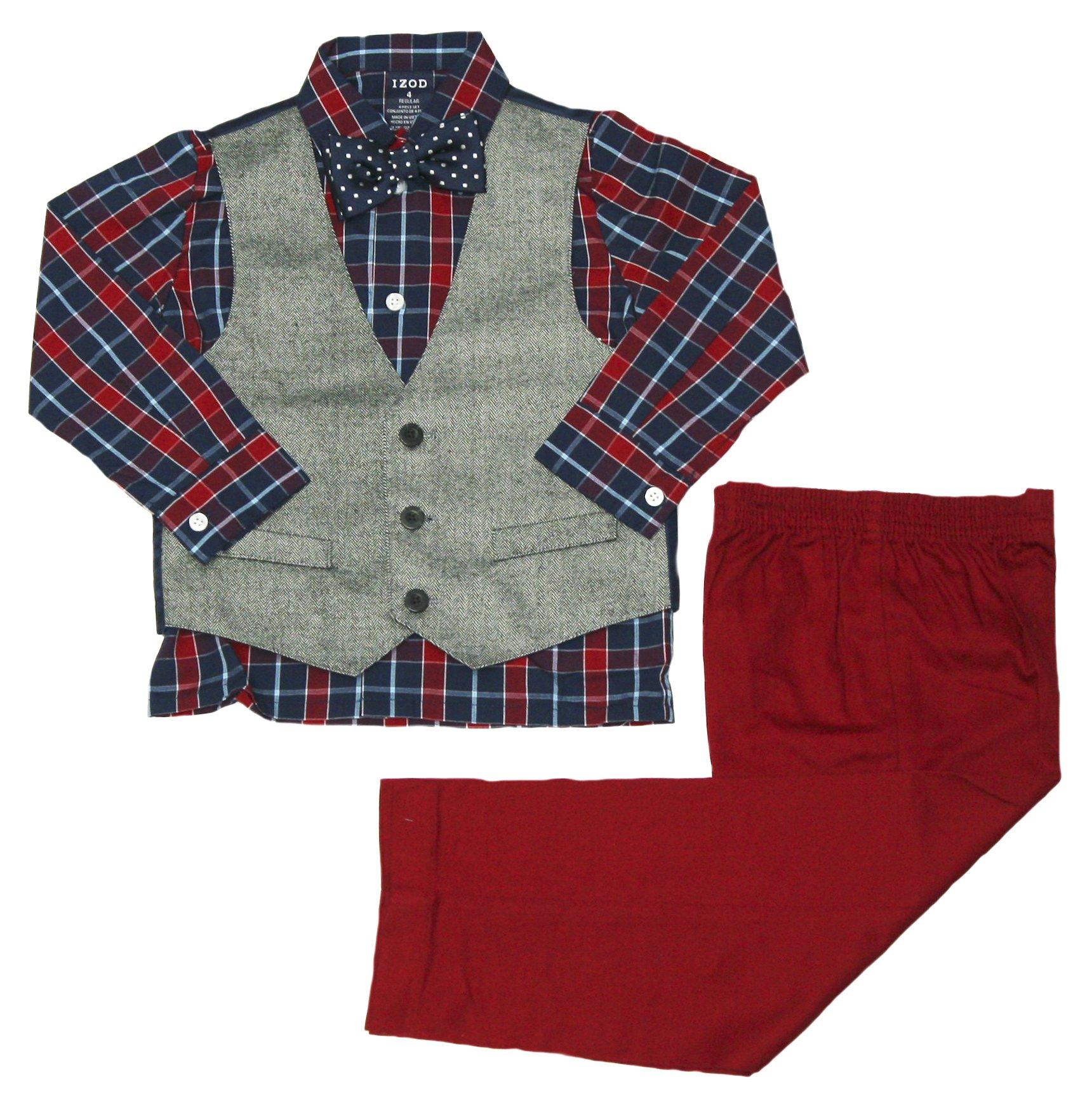 IZOD Little Boy's Herringbone Vest Set with Bow Tie (Dark Blue, 6)