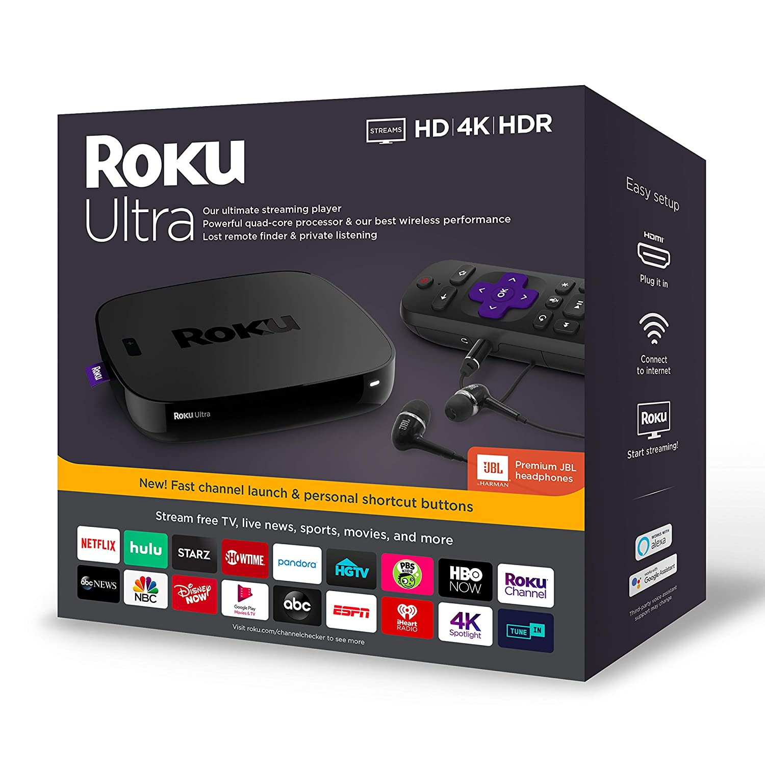 Amazon.com: Roku Ultra Streaming Media Player 4K/HD/HDR 2019 ...